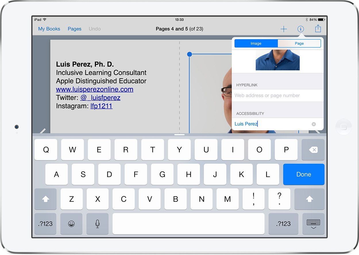Screenshot showing how to add an accessibility description to an image in Book Creator
