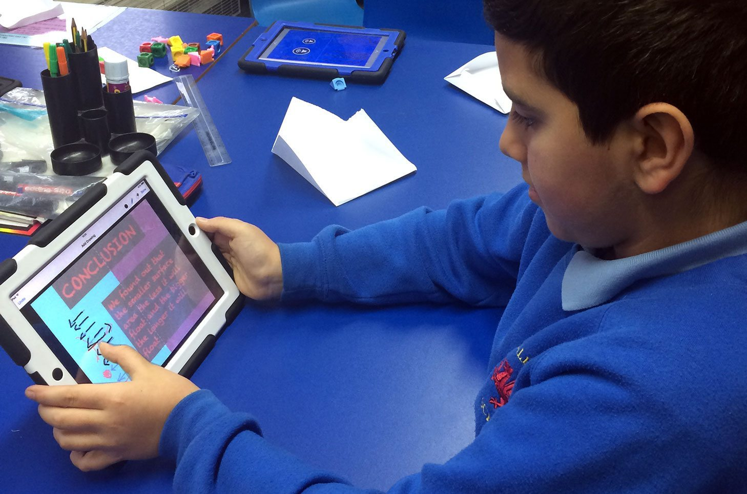 Boy working with Book Creator
