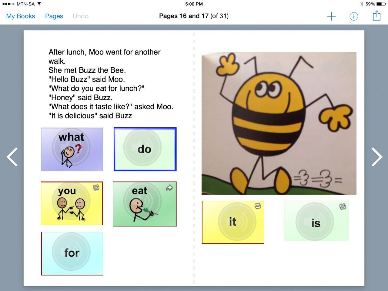 Nikky Heyman's core vocabulary book in Book Creator