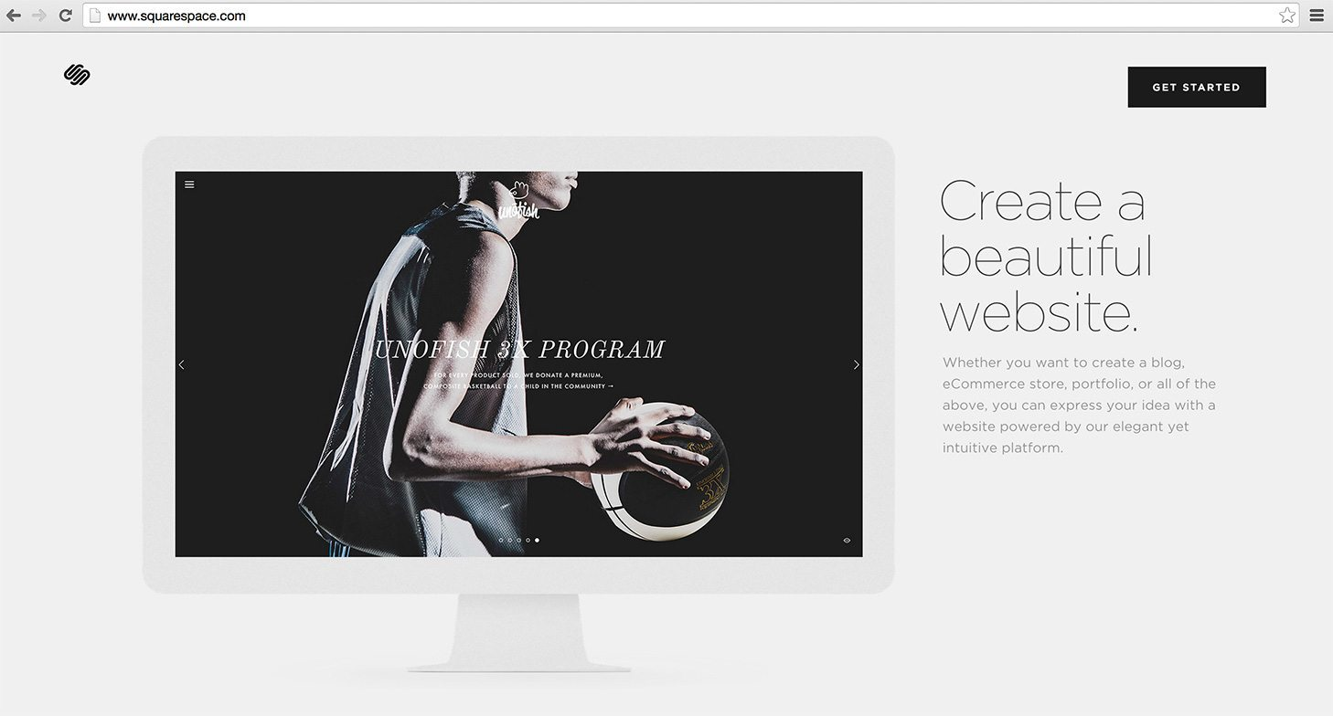 Screenshot from Squarespace