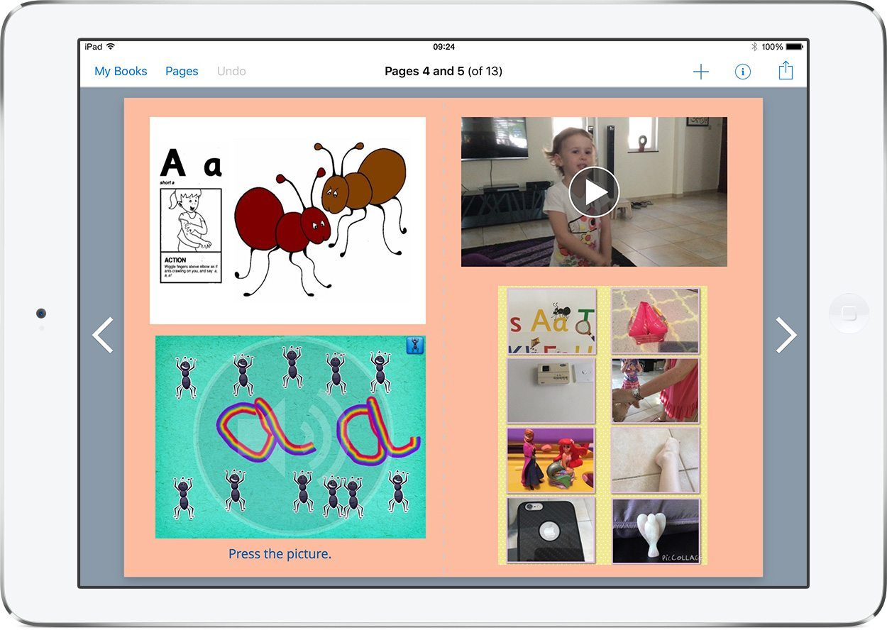 Jolly Phonics ebook in Book Creator on the iPad