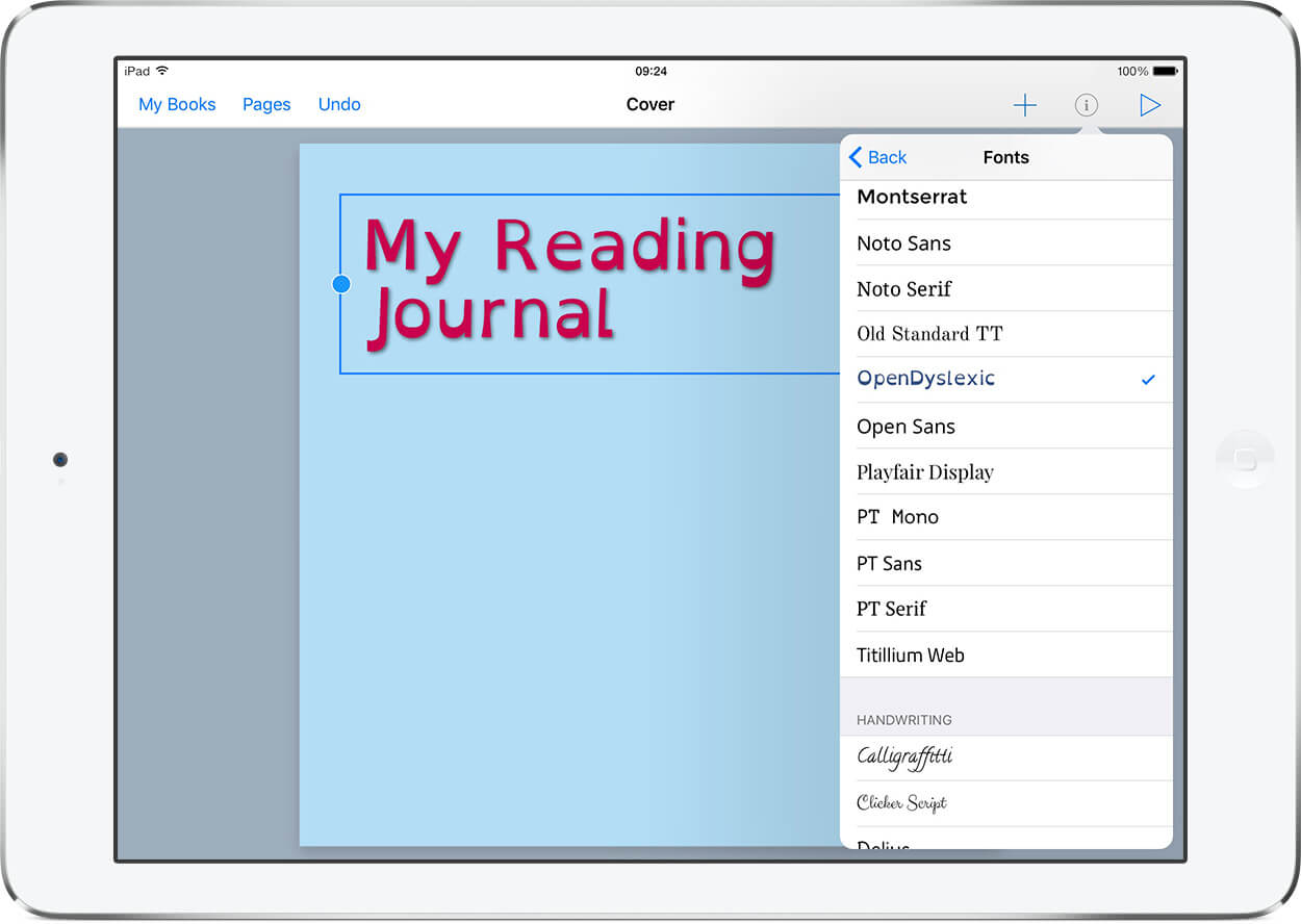 Mock up of a reading journal, as viewed in Book Creator for iPad