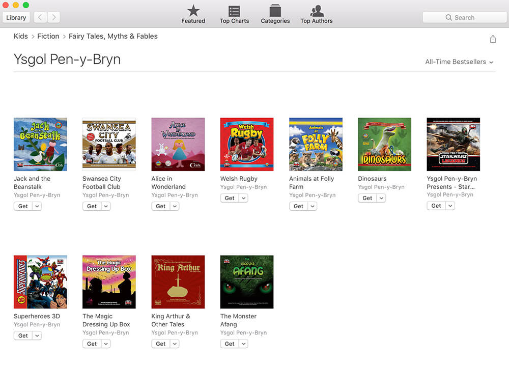 Ysgol-Pen-y-Bryn iBooks library screenshot