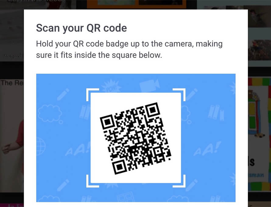 Signing into Book Creator with a QR code