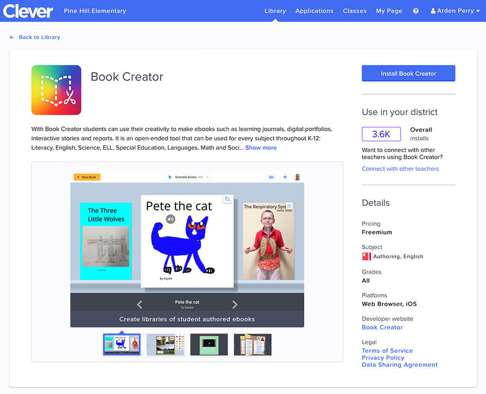 Viewing Book Creator in the Clever library
