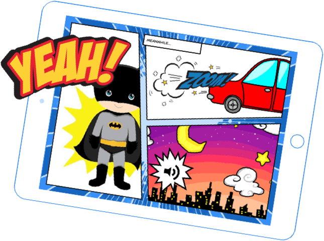 Tablet with Book Creator comic
