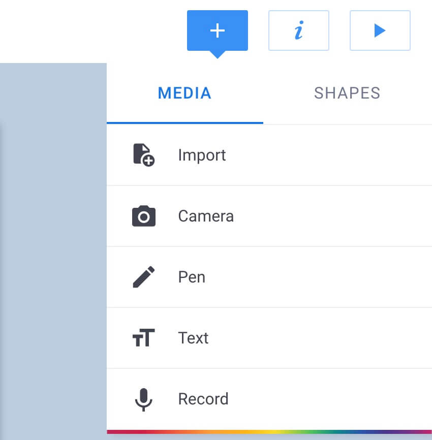 Media options in Book Creator